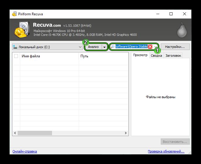 Анализ папки браузера в Recuva