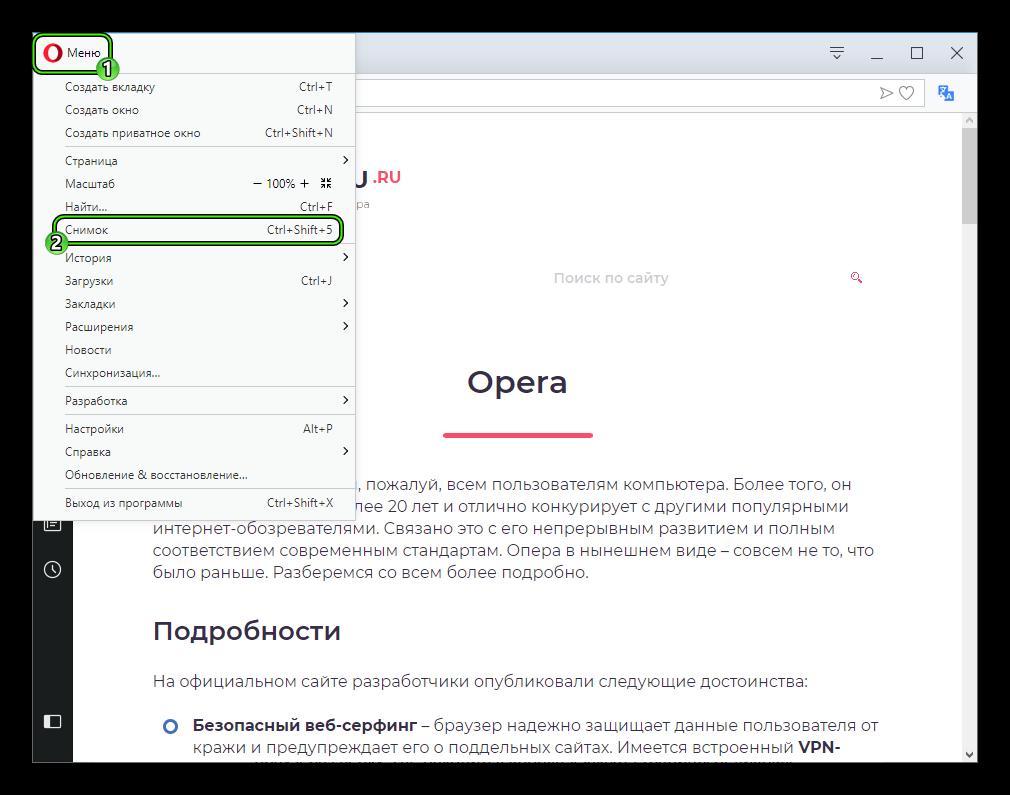 Пункт Снимок в основном меню браузера Opera