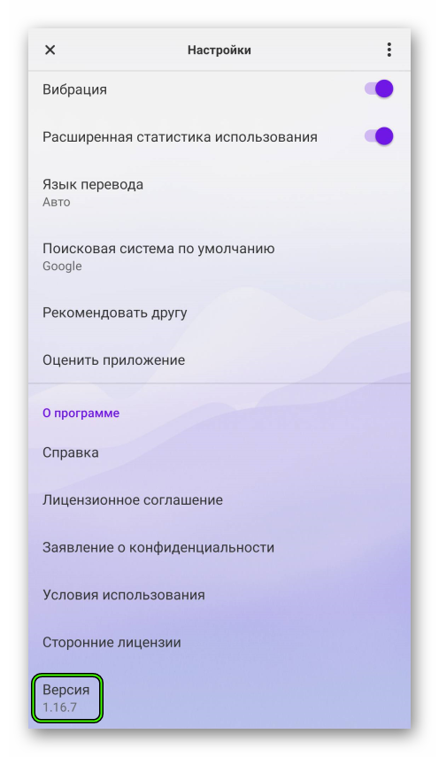 Информация о версии браузера на странице настроек Opera Touch для Android