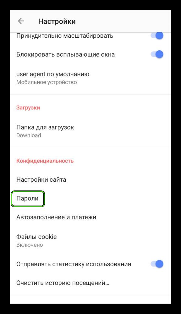 Пункт Пароли в настройках мобильного браузера Opera