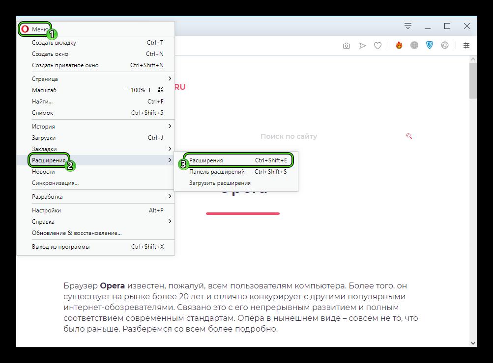 Пункт Расширения в главном меню интернет-обозревателя Opera