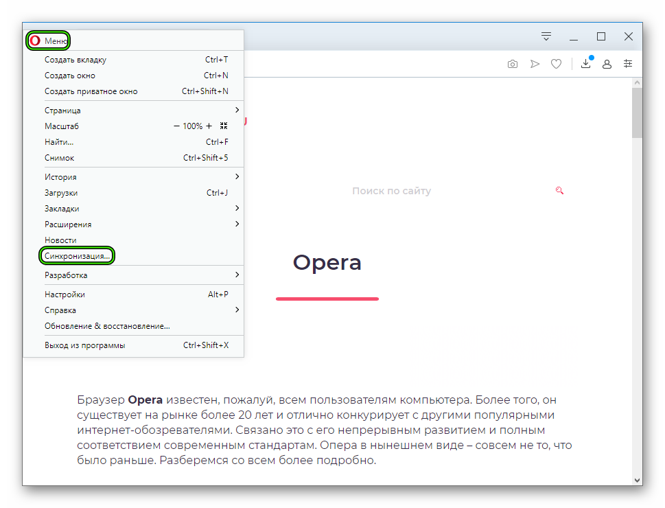 Пункт Синхронизация в главном меню интернет-обозревателя Opera