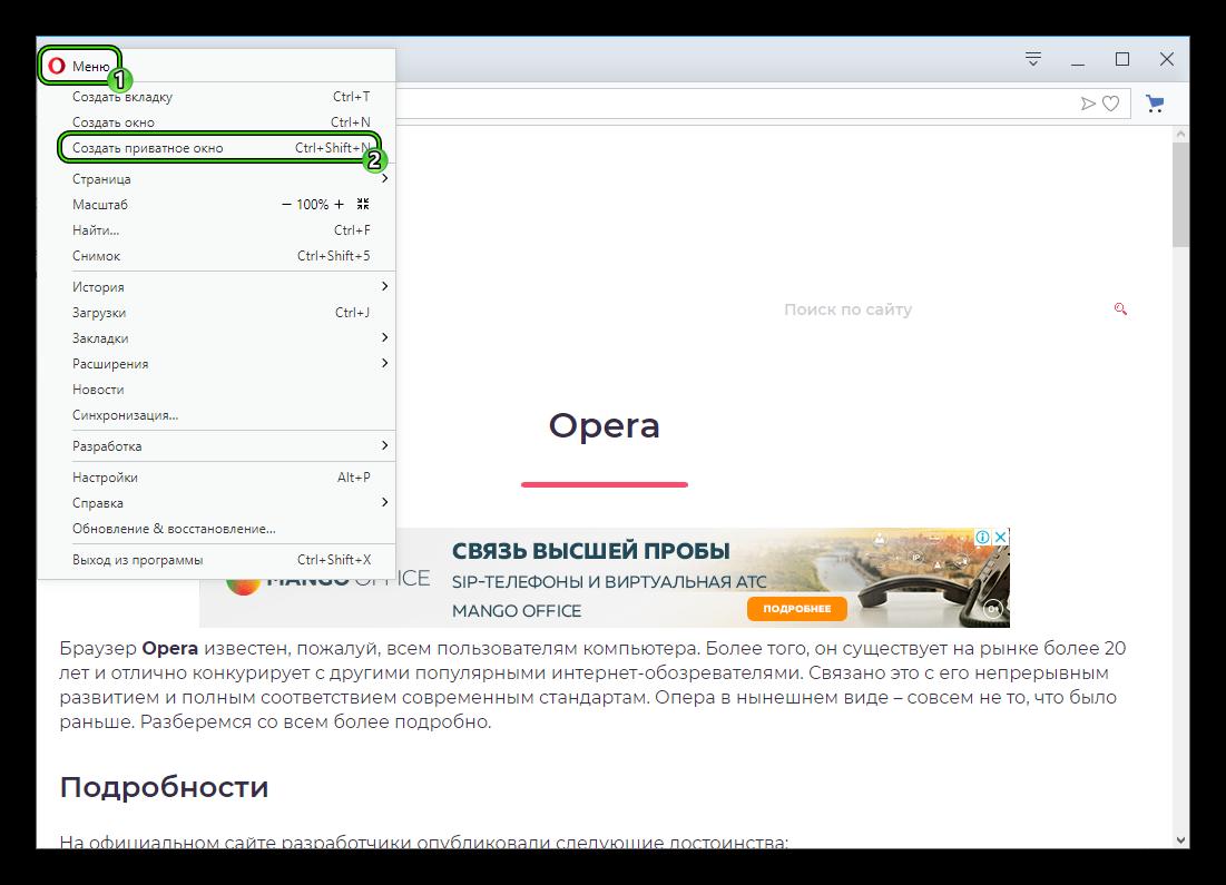 Пункт Создать приватное окно в основном меню браузера Opera
